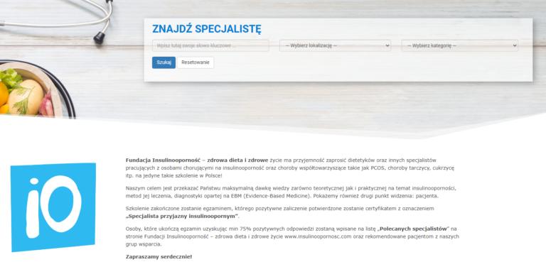 Szukasz specjalisty przyjaznego insulinoopornym? Skorzystaj z nowej strony i wyszukiwarki